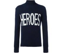 """Intarsien-Pullover mit """"Heroes""""-Schriftzug"""