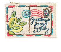 postcard embroidered clutch bag
