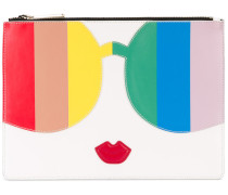 - contrast figure clutch bag - women - Leder