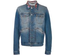 Jeansjacke mit besticktem Kragen