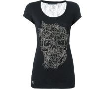 T-Shirt mit Totenkopf-Applikation