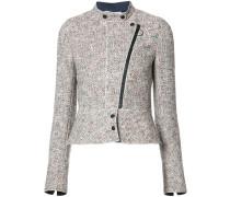 Tweed-Jacke mit nicht zentriertem Reißverschluss