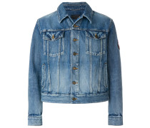 Love Me Forever patch faded denim jacket