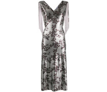 Kleid mit floralem Metallic-Print
