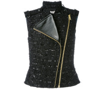 asymmetric metallic gilet - women