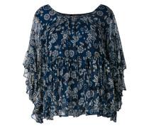 floral print frill trim blouse