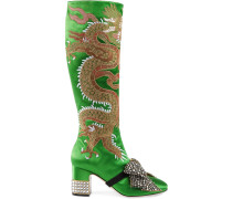 Green Satin Dragon 75 knee boots