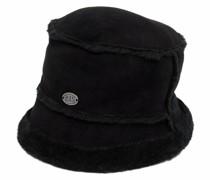logo-plaque shearling bucket hat