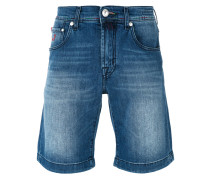 - denim flag Bermuda shorts - men
