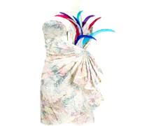 Schulterfreies Kleid mit Federn