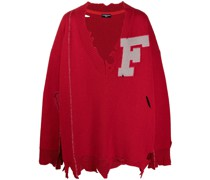 Distressed-Pullover mit F-Patch