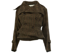 asymmetric plaid jacket