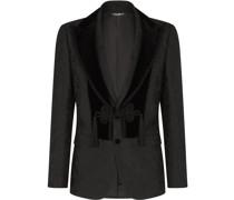 Jacquard-Anzug mit Samtbesatz