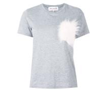 T-Shirt mit Besatz in Pelzoptik