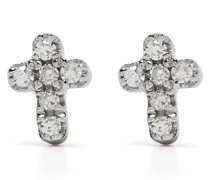 18kt Cross Rotgoldohrringe mit Diamanten