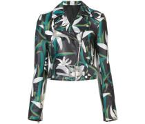 floral print biker jacket