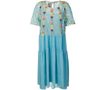 floral-embroidered flared dress