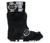 faux fur buckled boots - Unavailable