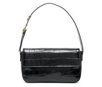 crocodile-effect leather shoulder bag