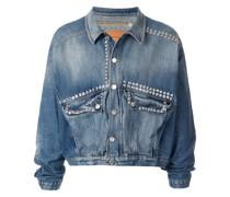 Cropped-Jeansjacke mit Nieten