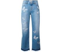 Boyfriend-Jeans mit Schmetterlingen