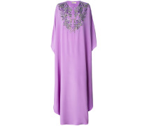 embroidered neck kaftan dress