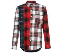 mixed tartan button down shirt