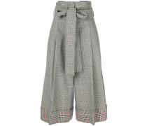 houndstooth cropped trousers