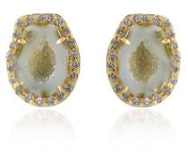 Green geode stud earrings with diamonds