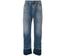 contrast colour tapered jeans