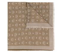 logo print silk-wool mix scarf