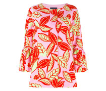 Oversized-Jacke mit Blätter-Print