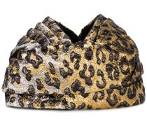 Metallic-Turban mit Leoparden-Print