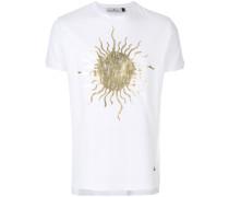 T-Shirt mit goldfarbenem Sonnen-Print