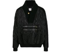 Gesteppter Pullover mit V-Ausschnitt