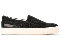 Slip-On-Sneakers mit Glitzer-Finish