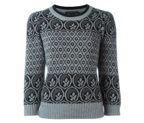 Intarsien-Pullover mit Musterung