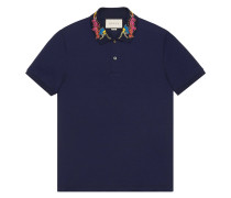 dragon embroidered collar polo shirt