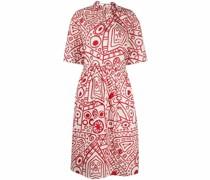 Gerafftes Kleid mit abstraktem Print