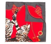 Seidenschal mit Katzen-Print