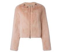 Cropped-Jacke aus Lammleder und Nerzpelz