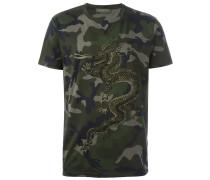 Camouflage-T-Shirt mit Drachenstickerei