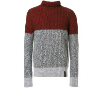 Gerippter Pullover in Colour-Block-Optik