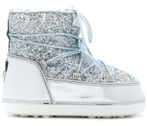 glitter lace up snow boots