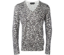Intarsien-Pullover mit Leopardenmuster