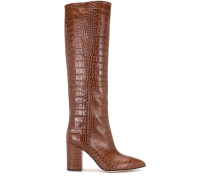 crocodile embossed knee-high boots