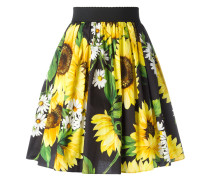 Faltenrock mit Sonnenblumen-Print - women