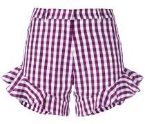gingham ruffle shorts - women