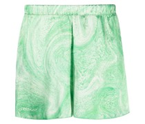 Marmorierte Shorts mit Glanzoptik