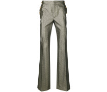 metallic effect flared trousers